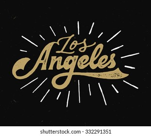 Vintage Hand lettered textured Los Angeles t shirt apparel fashion print. Retro old school tee graphics. Custom type design. Hand drawn typographic composition. Hand crafted wall decor art poster.
