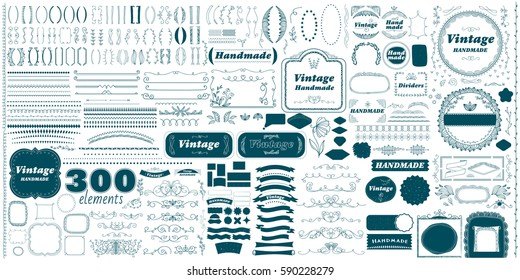 Vintage hand made divider lines set isolated vector illustration. Big retro collection of page divider, label, badge, ribbon, frame. Calligraphic page decoration, decorative ornament design elements.