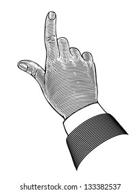 Vintage hand with pointing finger in engraving style.  Vector illustration, isolated, grouped, transparent background