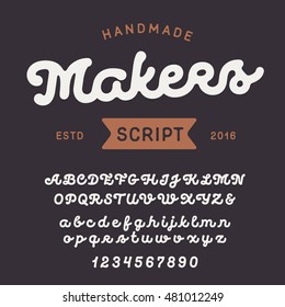 Vintage handcrafted font. Smooth and line uppercase and lowercase alphabet