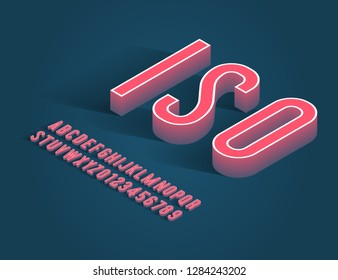 vintage handcrafted isometric alphabet. retro font. vector illustration
