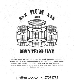 Vintage handcrafted poster template with old barrels and vector sign - rum, montego bay. Sketching filled style. Retro design for banner, flyer. Isolated on white background. Vector illustration