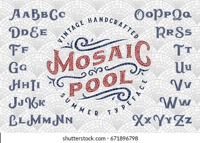 "Vintage handcrafted summer typeface ""Mosaic Pool"" with seamless pattern tiles background"