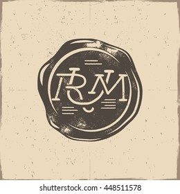Vintage handcrafted wax seal template with monogram Rum wax seal. Use as pirate emblem, label, logo. Isolated on a scratched paper background. Sketching filled style. Vector silhouette wax template.