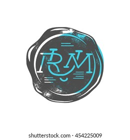 Vintage handcrafted wax seal template with monogram Rum. Use as pirate emblem, label, logo. Isolated on a white background. Sketching filled style with blue shape. Vector silhouette template.