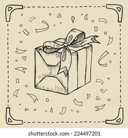Vintage hand-drawing background with gift box. Vector illustration.