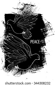 Vintage hand-drawing black and white pattern with doves. EPS 10 vector illustration. Line-art style.