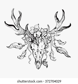 Vintage hand-drawn graphic of deer, flowers and feathers (can be used as a textile and t-shirt print or adult coloring book page).EPS