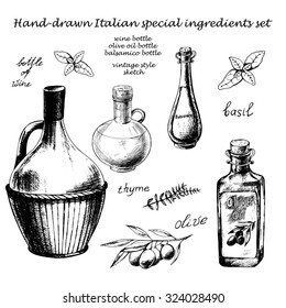 Vintage hand-drawn ink collection with glass bottles of wine, olive oil and balsamic and other Italian special ingredients