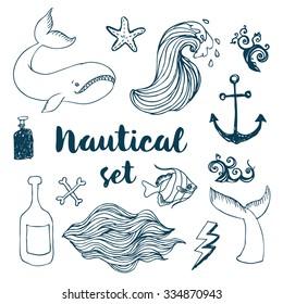 Vintage hand-drawn nautical set. Vector illustration.