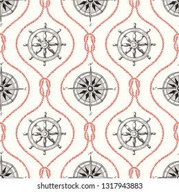 Vintage Hand-Drawn Rope Ogee Vector Seamless Pattern with Steering Wheel, Compass and Nautical Reef Knot.