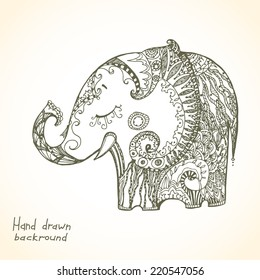 Vintage hand-drawn tribal doodle animal