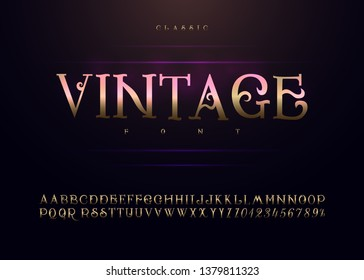 Vintage handmade alphabet gold metallic and the effect of the design. Exclusive Golden letters. Vector illustration.