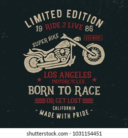Vintage handmade conposition motorcycle  typography. T shirt for print and other user. Vector illustration