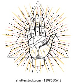 Vintage Hands. Hand drawn sketchy illustration with mystic and occult hand drawn symbols. Palmistry concept. Vector illustration. Spirituality, astrology and esoteric concept.