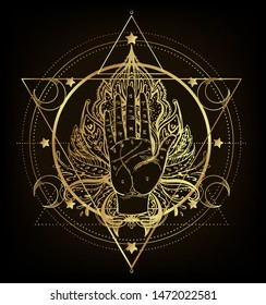 Vintage Hands. Hand drawn sketchy illustration with mystic and occult hand drawn symbols. Palmistry concept. Vector illustration. Spirituality, astrology and esoteric. Gold gradient over black.