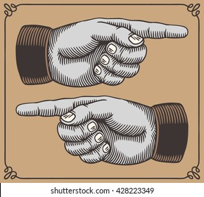 Vintage hands with pointing fingers.