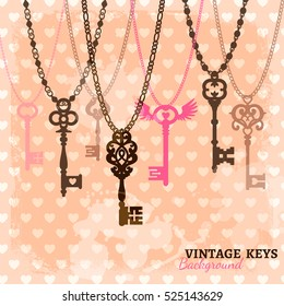 Vintage hanging keys template with chains and romantic background with hearts vector illustration