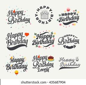 Vintage Happy Birthday Calligraphic And Typographic Background