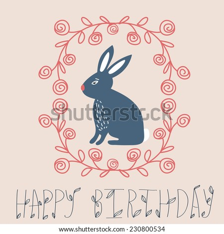 Vintage Happy Birthday Card Cute Bunny And Hand Drawn Wreath