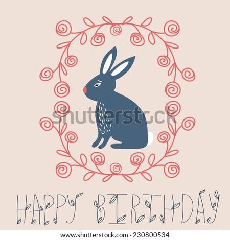 Vintage Happy Birthday Card Cute Bunny And Hand Drawn Wreath