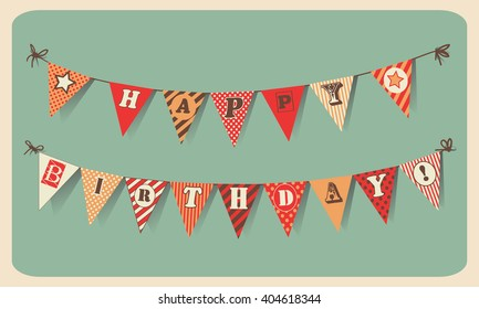 Vintage Happy Birthday Card. Festive banner as bunting flags with letters HAPPY BIRTHDAY.  Happy Birthday vector illustration . Happy Birthday concept template for banner, brochure, gift certificate.