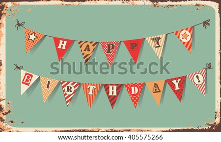 Vintage Happy Birthday Card Festive Banner As Bunting Flags With Letters HAPPY BIRTHDAY