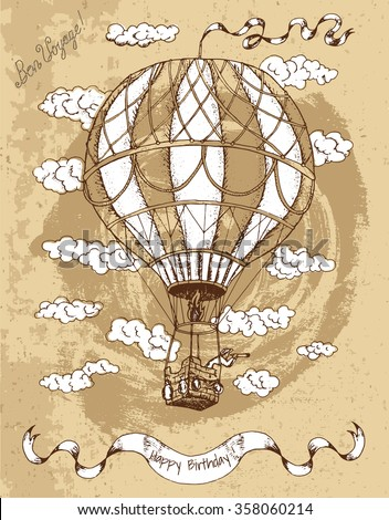 Vintage Happy Birthday Card With Hot Air Balloon Banner Text And Clouds On Brown