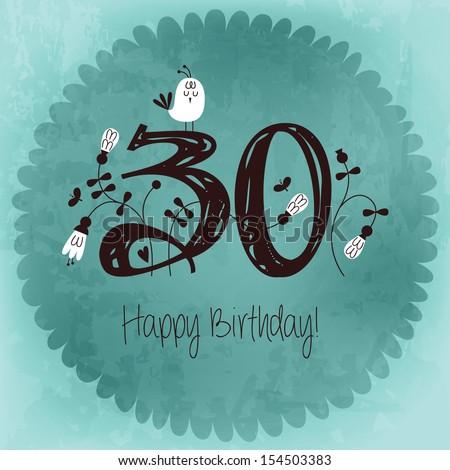 Vintage Happy Birthday Card Invitation Number Stock Vector Royalty