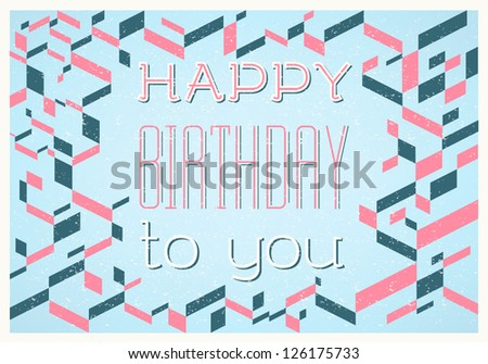 Vintage Happy Birthday Retro Card Fonts Stock Vector Royalty Free