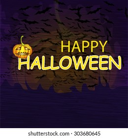 Vintage Happy Halloween Typographical Background With Pumpkin.