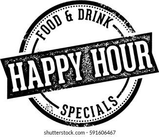 Vintage Happy Hour Bar Sign