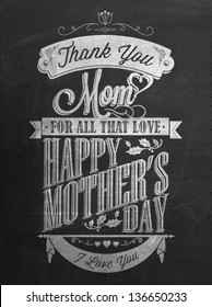 Vintage Happy Mother's Day Typographical Background With Chalk On Blackboard