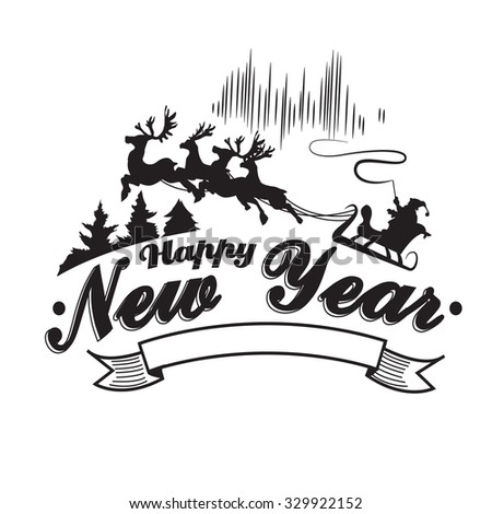 vintage happy new year label badges and design elements