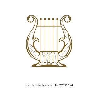 vintage  harp logo icon, lyre harp vector isolated