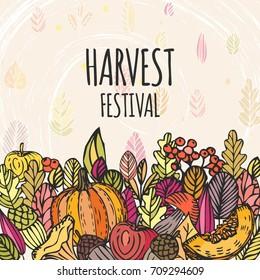 Vintage Harvest Festival Poster. Autumn background. Hand drawing leaves and fruits, vector frame.