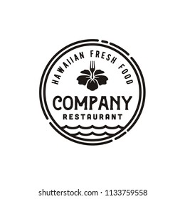 Vintage Hawaii Restaurant  Bar Logo Emblem design inspiration