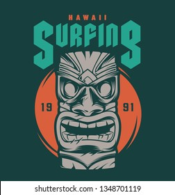 Vintage hawaii surfing print with tribal tiki mask on green background isolated vector illustration