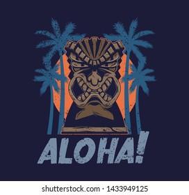 Vintage Hawaii tribal angry tiki mask idol aloha totem traditional Hawaiian primitive wood sculpture. Polynesian style with palm for print design t-shirt poster sticker badge cartoon illustration.