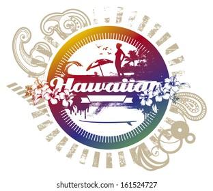 vintage hawaiian beach circle