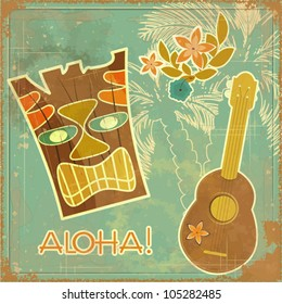 Vintage Hawaiian card - invitation to Beach party - vector illustration