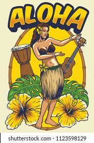 vintage hawaiian dancing girl