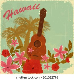 Vintage Hawaiian postcard - invitation to Beach party - vector illustration