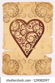 Vintage Heart ace poker playing cards, vector illustration