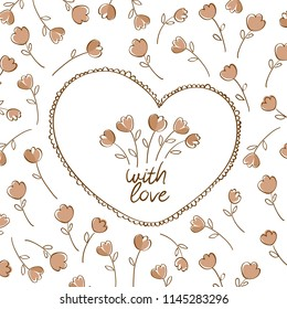 Vintage heart with hand drawn bouquet of flowers. Greeting card for Valentine's Day, birthday, Mother's Day, March 8, wedding invitations. Vector illustration.