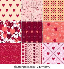 Vintage hearts and love symbols seamless patterns set. Valentine's day backgrounds. Wedding theme.