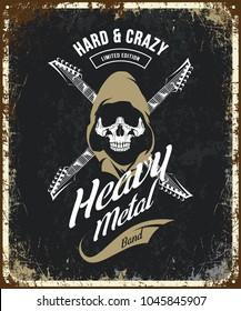 Vintage heavy metal vector t-shirt logo isolated on dark. Premium quality skull in hood logotype tee-shirt emblem illustration. Street wear legendary music style old retro hipster tee print design.
