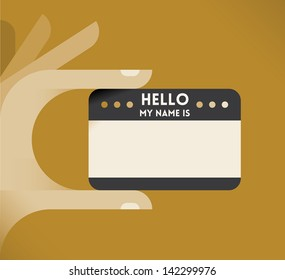 """Vintage """"Hello, my name is"""" card in human hand. Stylish design vector illustration with vintage colors. Idea - Stylish vintage nameplate for your web site. Enjoy!"""