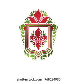 Vintage heraldic emblem created with lily flower royal symbol. Best quality product symbol, nature protection theme illustration, shield decorated with cartouche.