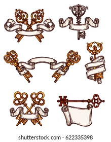 Vintage heraldic keys sketch icons tied with ribbons. Vector symbols of old brass or castle bronze ornate or flourish forges lock keys with antique or medieval royal design